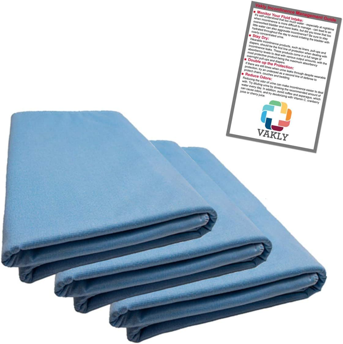 """36"""" x 54"""" Reusable Underpad with 4-Layer Protection (3 Pack) + Vakly Incontinence Guide"""
