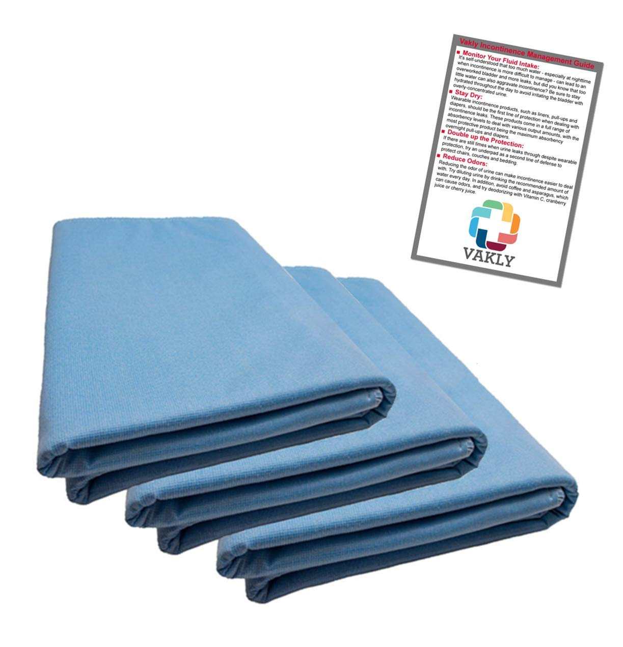 36'' x 54'' Reusable Underpad with 4-Layer Protection (3 Pack) + Vakly Incontinence Guide