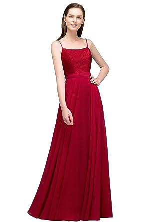 Burgundy Chiffon Long Evening Dress