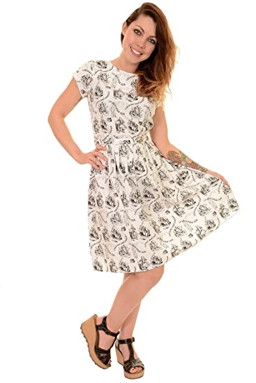 b8818c9c53ee Ladies Run & Fly 50s 60s Retro Vintage Alice In Wonderland Tea Party Dress:  Amazon.co.uk: Clothing