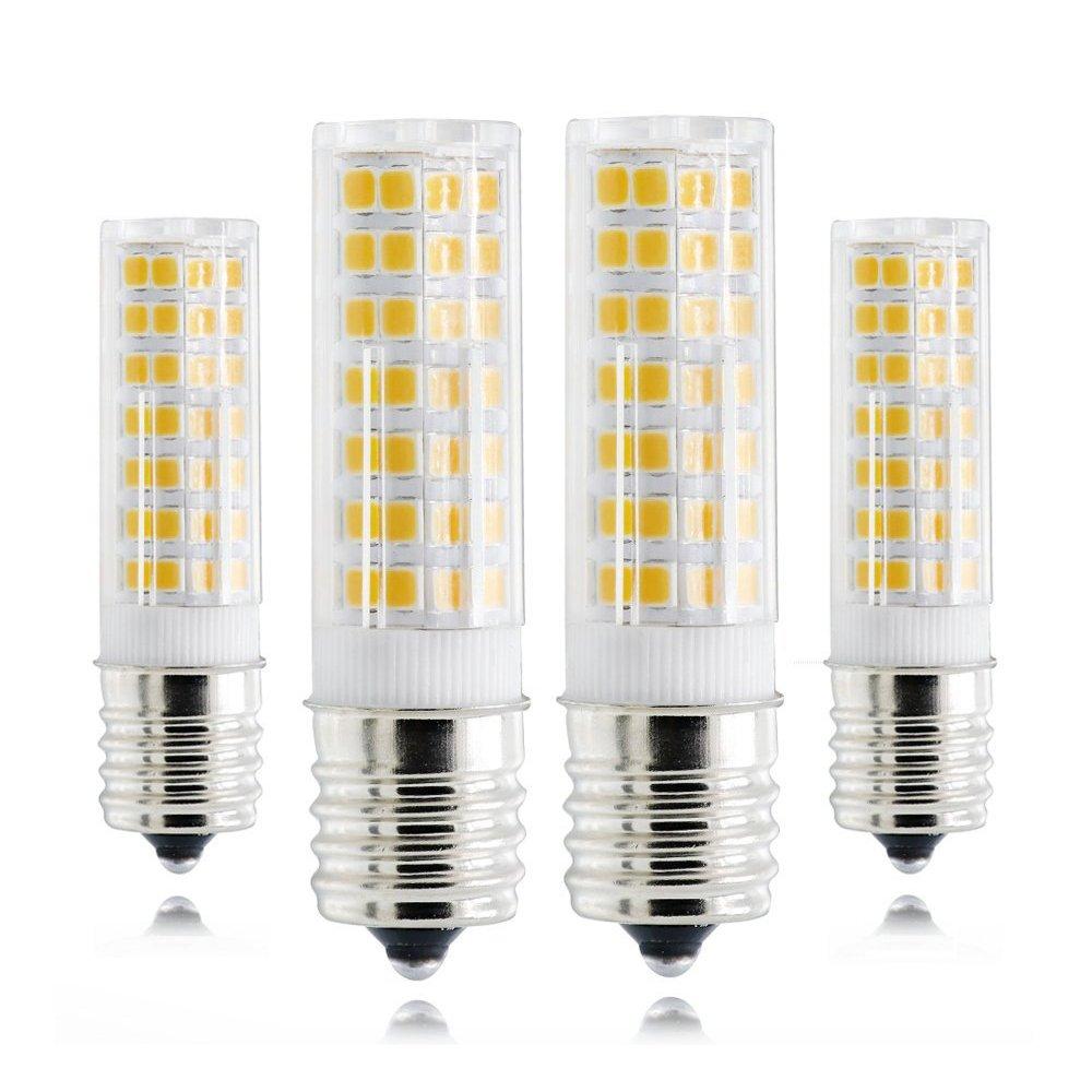 Dimmable LED E17 Bulb, 120V 6W 3000K Warm White Intermediate Base, 60W Equivalent, E17 LED Bulb for Microwave Oven Appliance, Freezer, under-microwave stove light, Ceiling Fan Light Fixture,etc 4-Pack