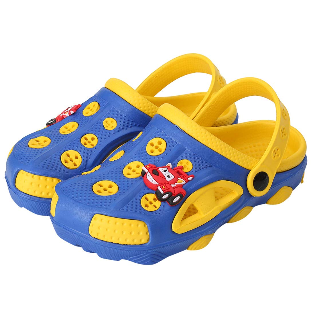 Fashion-zone Toddlers Cartoon Slides Sandals-Lightweight Garden Clogs Beach Sandals for Toddler Boys Girls (7 M US Toddler, Blue)