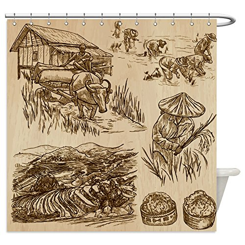Vanfan Shower Curtains agriculture life of a farmer rice crop collection of hand drawn vector illustrations set of 468493889 For Bathroom (Rice Farmer Halloween)