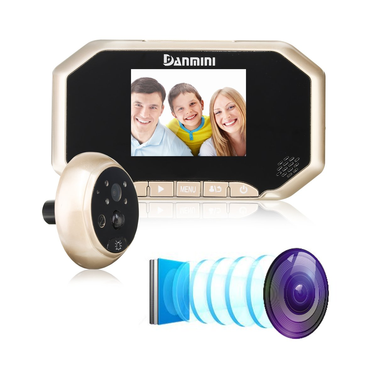 HITSAN 3inch PIR Motion Detection Doorbell Door Peephole Camera 160 Degrees Video Viewer Night Vision Gold One Piece