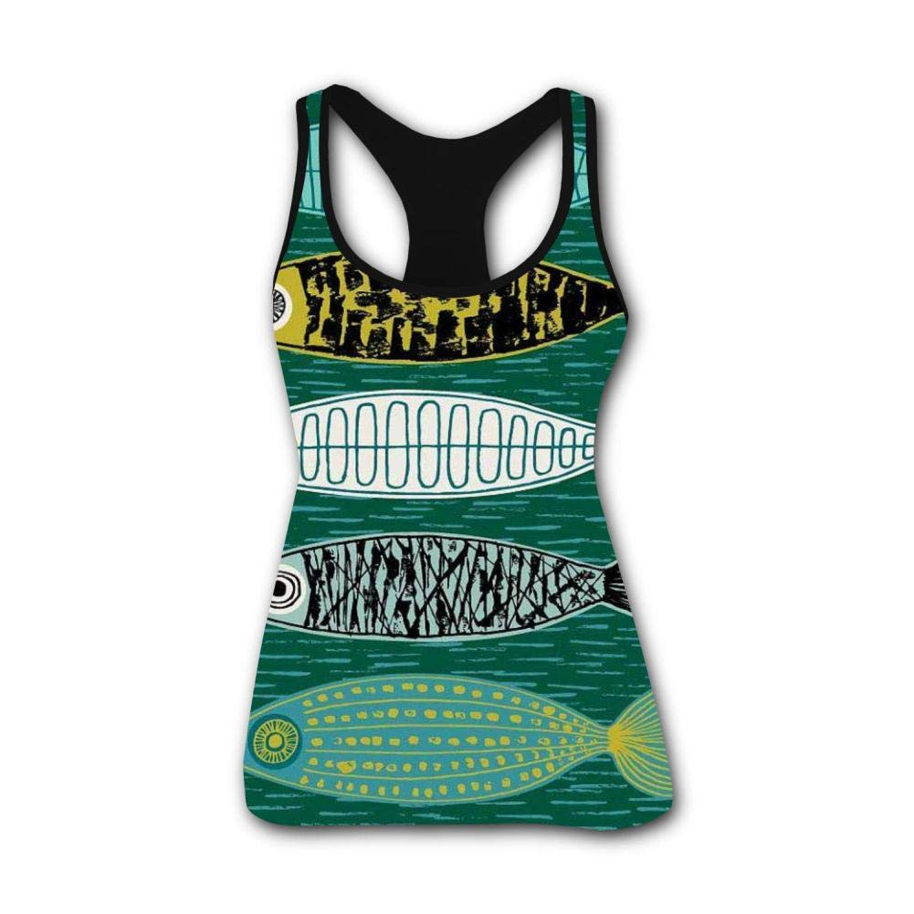 Nice Fish Funny 3D Print Casual Custom Sleeveless Tanks Vest T-Shirt Women Girl L
