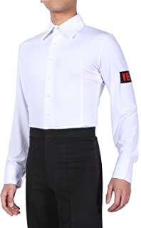"""14/""""-18/"""" MS962 Mens Ballroom Smooth Stretchy Dance Shirt in White or Black"""