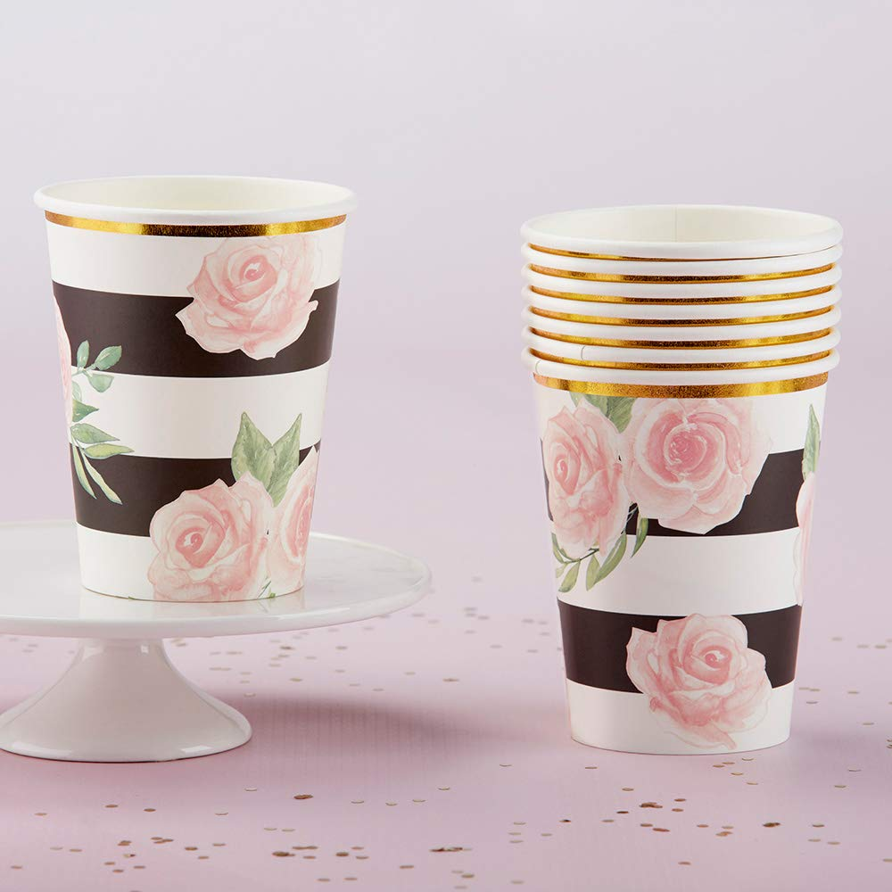 Paper Cups 8 Cups per Pack Pink Stripe Party Cup Pink and White Stripe Party Cup Pink Babyshower Pink and Gold Party Cup