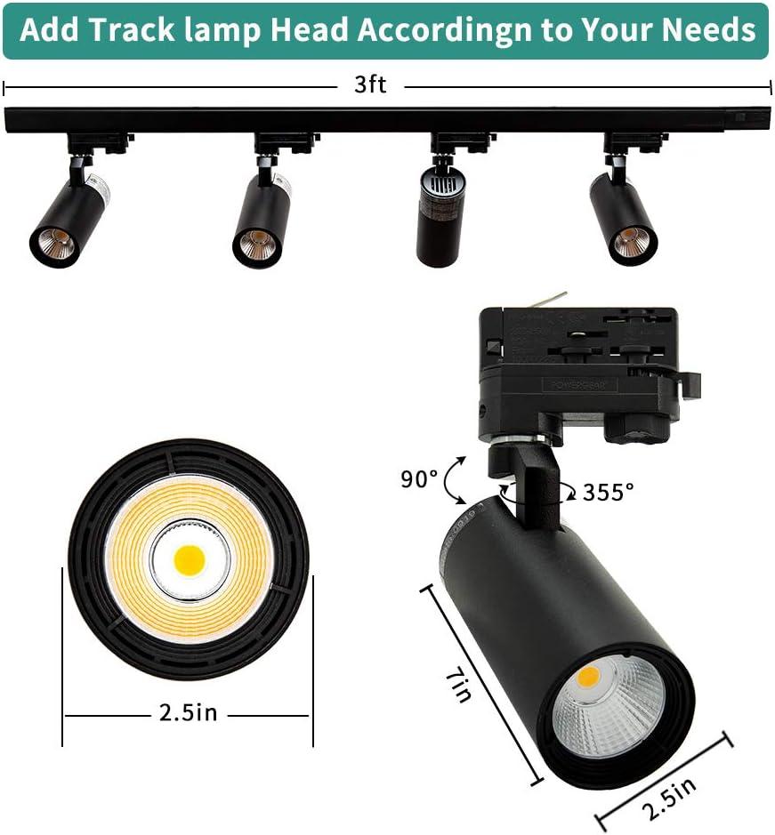 4000K 24/°Beam Angle,1000 Lumens Matte Black 120 Volts Easy Installation Glide 4-LED Track Lighting