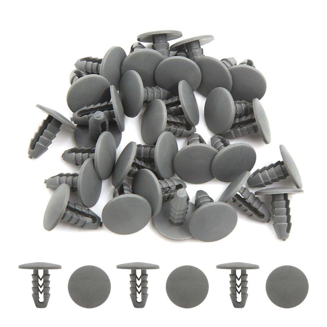 Amazon.com: eDealMax Clips 30Pcs gris del coche Universal remaches de plástico Fender parachoques de sujetadores de 8mm: Automotive