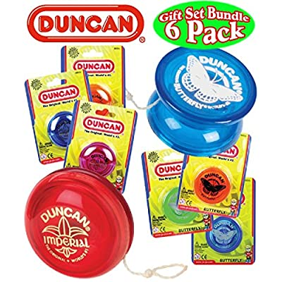 Duncan Yo-Yo Imperial (3) & Butterfly (3) Deluxe Gift Set Bundle - 6 Pack (Assorted Colors): Toys & Games
