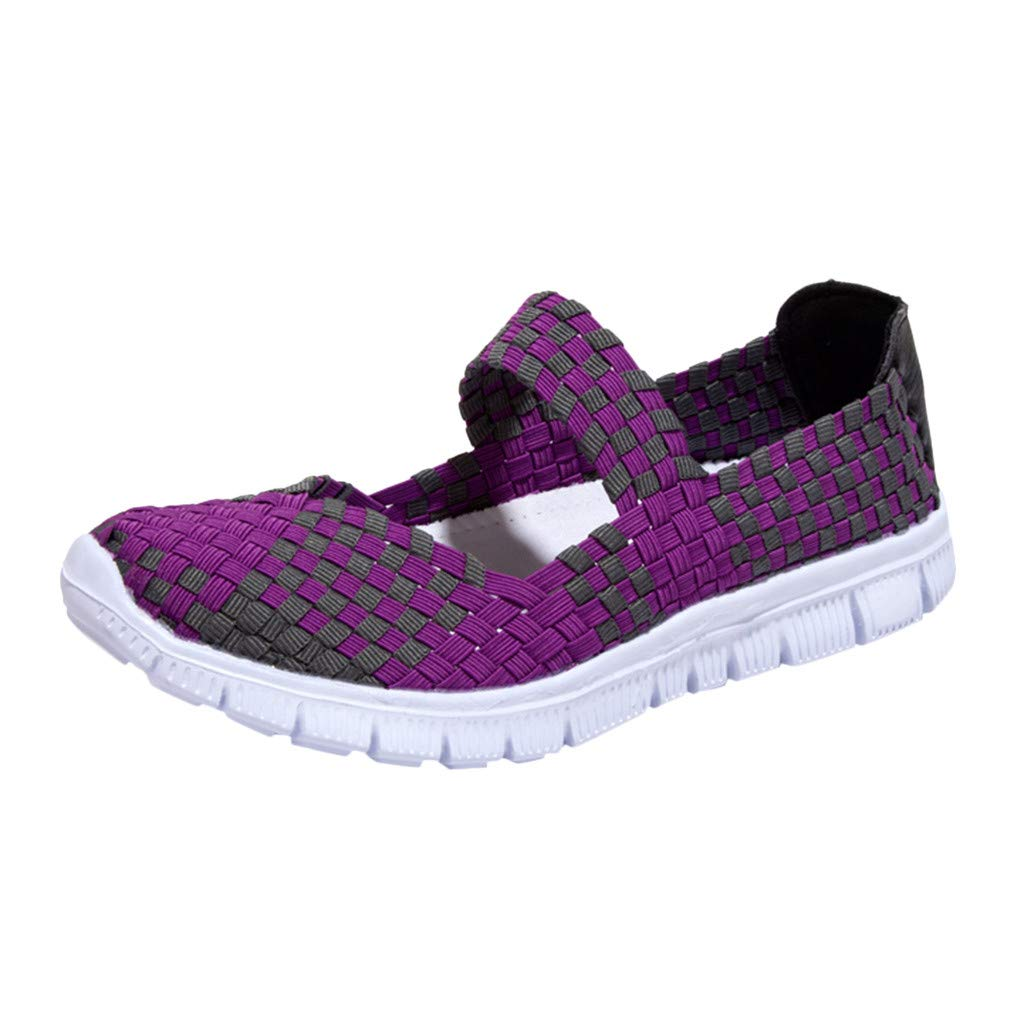 Garish  Women's Lazy Shoes,Easy WearCasual Shoes, Woven Light Weight Elastic Sport Water Shoes Sneakers Purple