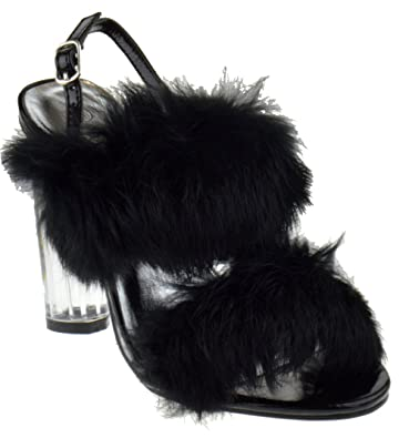 1d1c90449e0 Foever Create 88 Womens Clear Chunky Heel Furry Strapped Lucite Sandals  Black 6