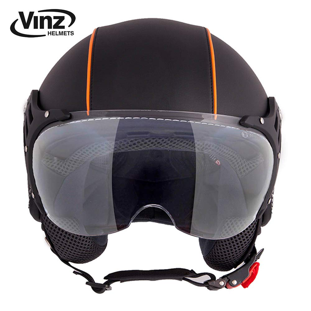 ECE zertifiziert XS-XL Helm mit Visier Vinz Motorradhelm Rollerhelm Jethelm Jet Helm Fashionhelm Schwarz Orange Lederhelm in Gr S