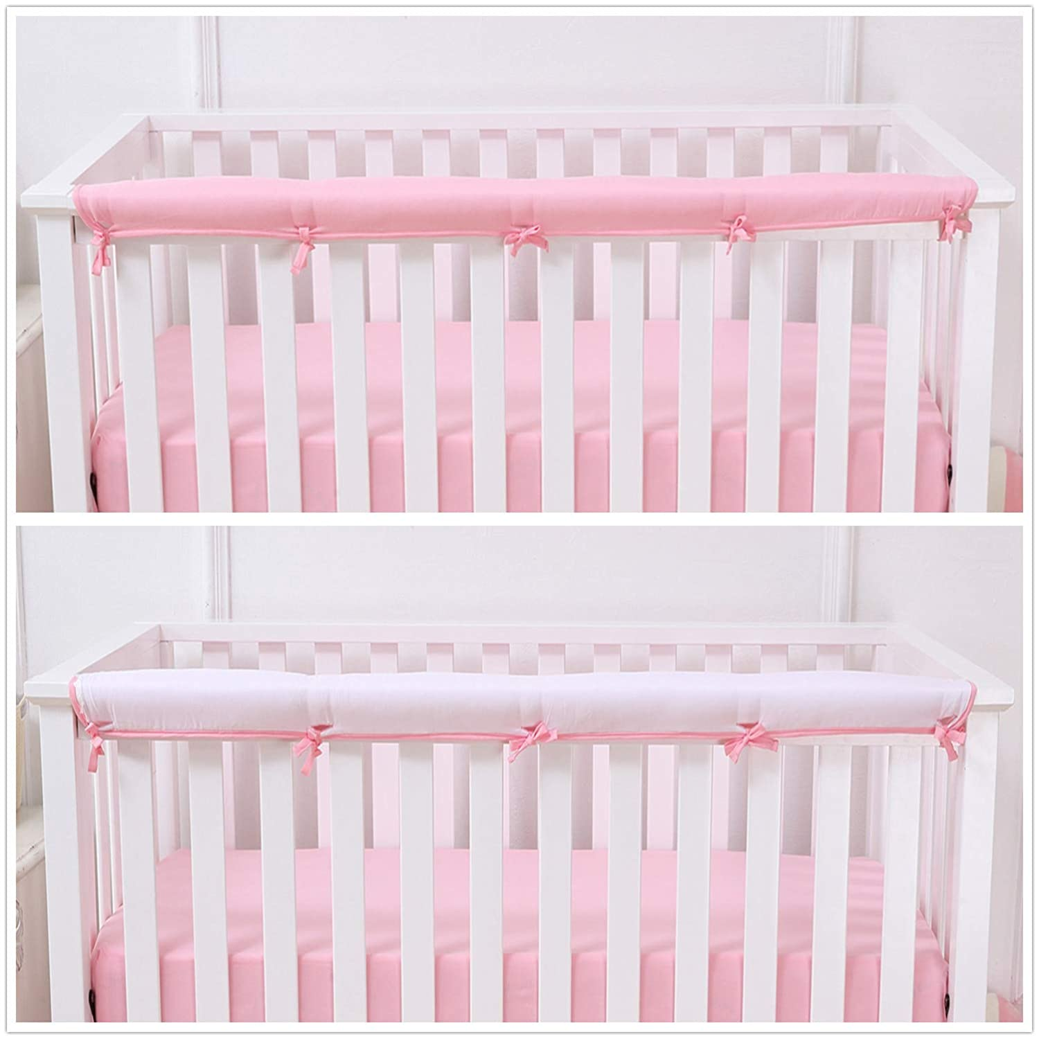 Measuring up to 8 Round Belsden Soft Reversible Long Crib Rail Cover Made of Brushed Microfiber Fabric Breathable and Hypoallergenic Baby Teething Guard Chewing Protector Gray and White Colors