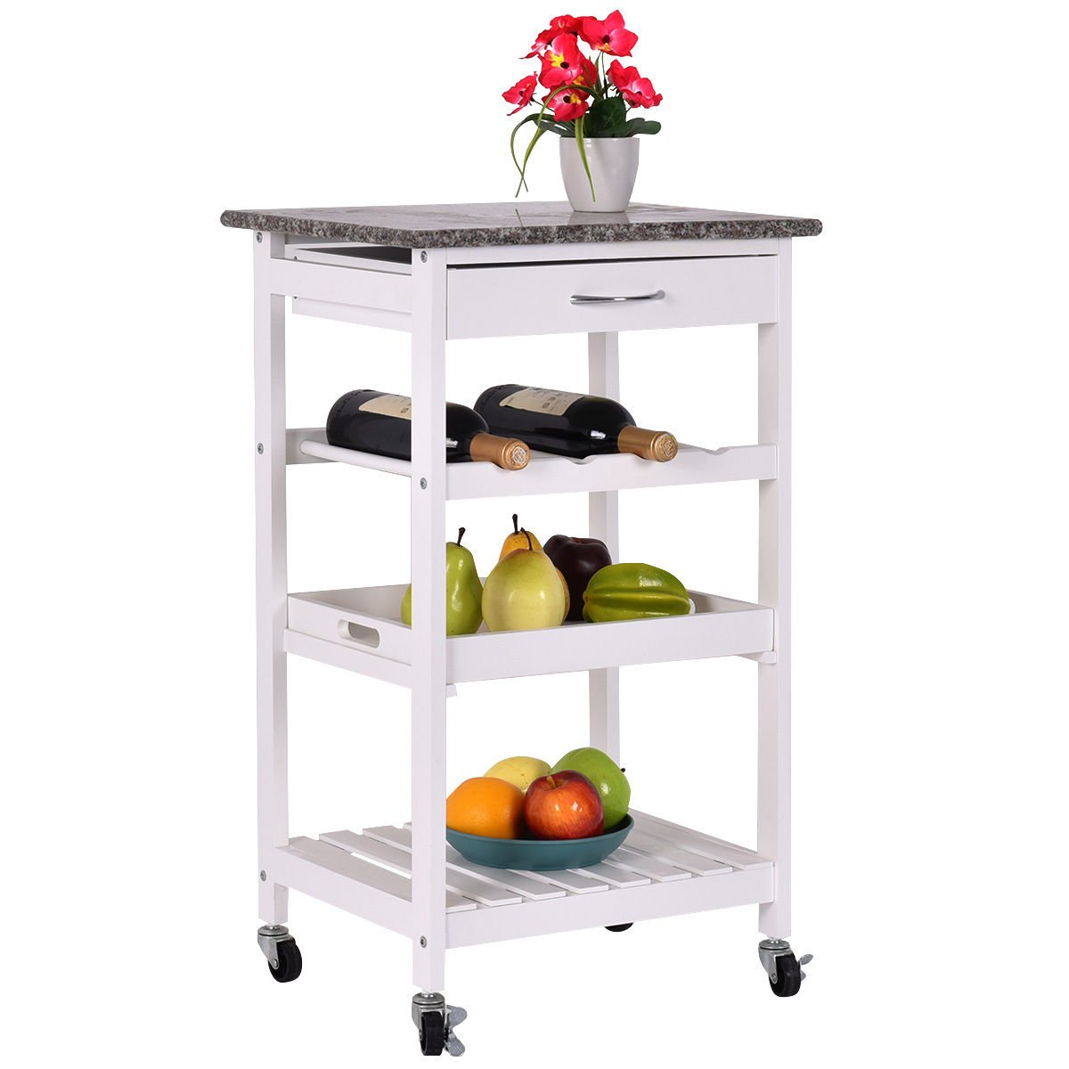 4-Tier Rolling Wood Kitchen Trolley Island Cart Storage Shelf Drawer Wine Rack White New