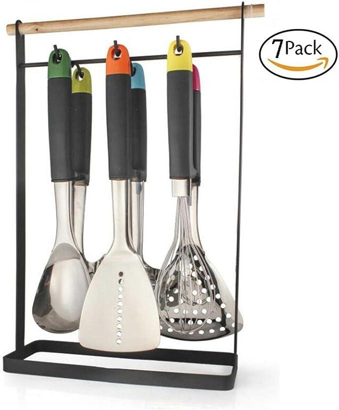 Utensilios Cocina Set 7 Piezas No Tóxicos Utensilios De Cocina Antiadherente Accesorios De Cocina De Acero Inoxidable: Amazon.es: Hogar