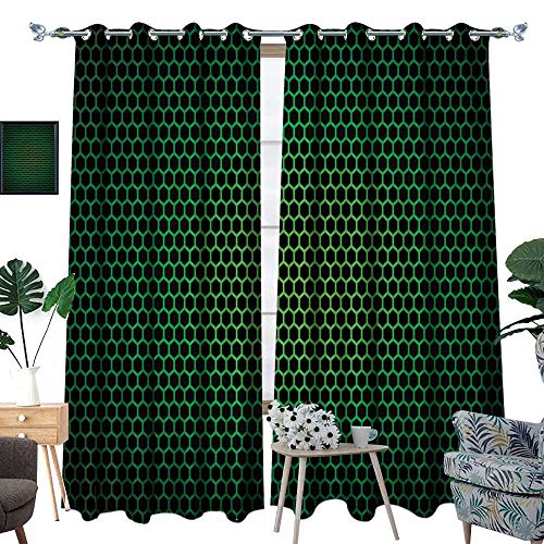 Price comparison product image RenteriaDecor Forest Green Room Darkening Wide Curtains Geometrical Honeycomb Pattern with Polygons Technology Themed Grid Mesh Tile Customized Curtains W72 x L108 Green Black