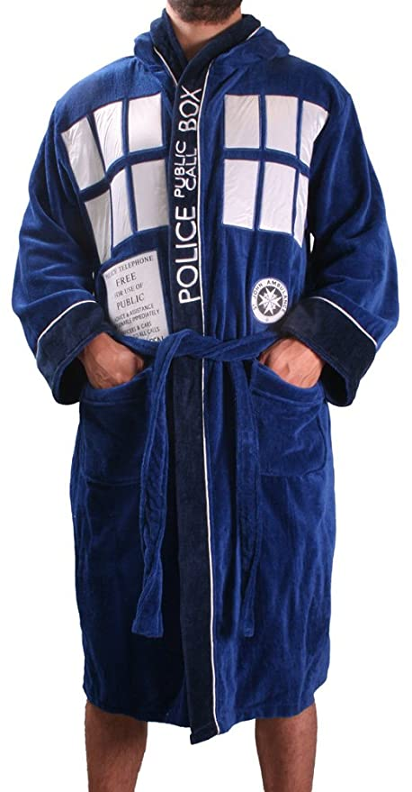 Doctor Who Bath Robe Tardis Dressing Gown Adult Bathrobe Fleece One ...