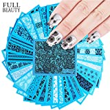 POYING Full Beauty 48PCS Black Lace Flower Water Sticker Sets DIY Charms Slider Sexy Transfer Tattoos Full Foil Nail Tool CHSTZV001-048