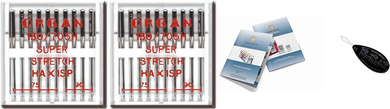 Agujas para máquina de coser Organ Household – Super-Stretch (HAX1SP) 130/705 H, 2 paquetes de 10, tamaño: 75/11, 90/14 + índice de aguja grande y aguja de órgano único
