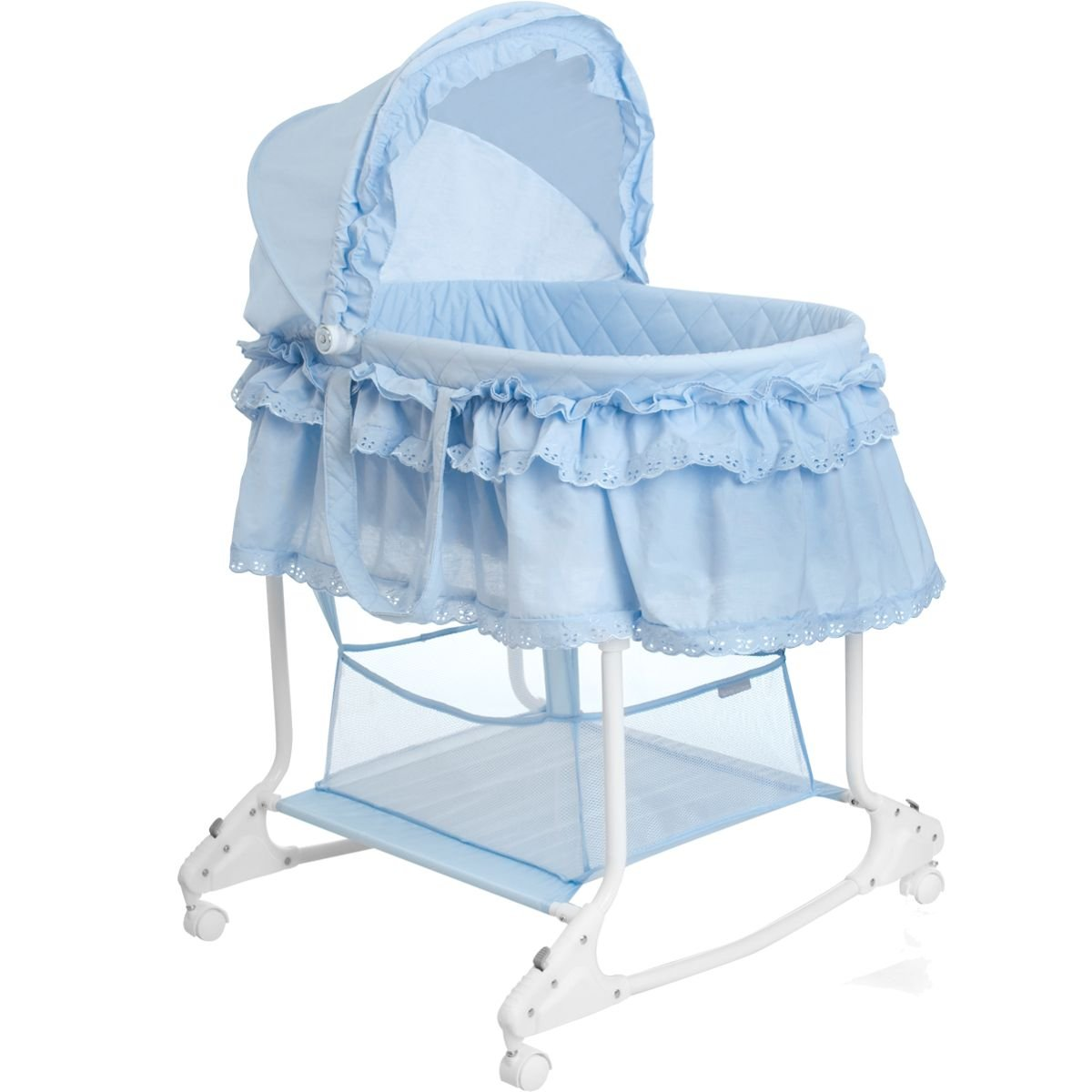 Hellblau Babywiege//Stubenwagen mit Schaukelfunktion Abnehmbarer Babykorb