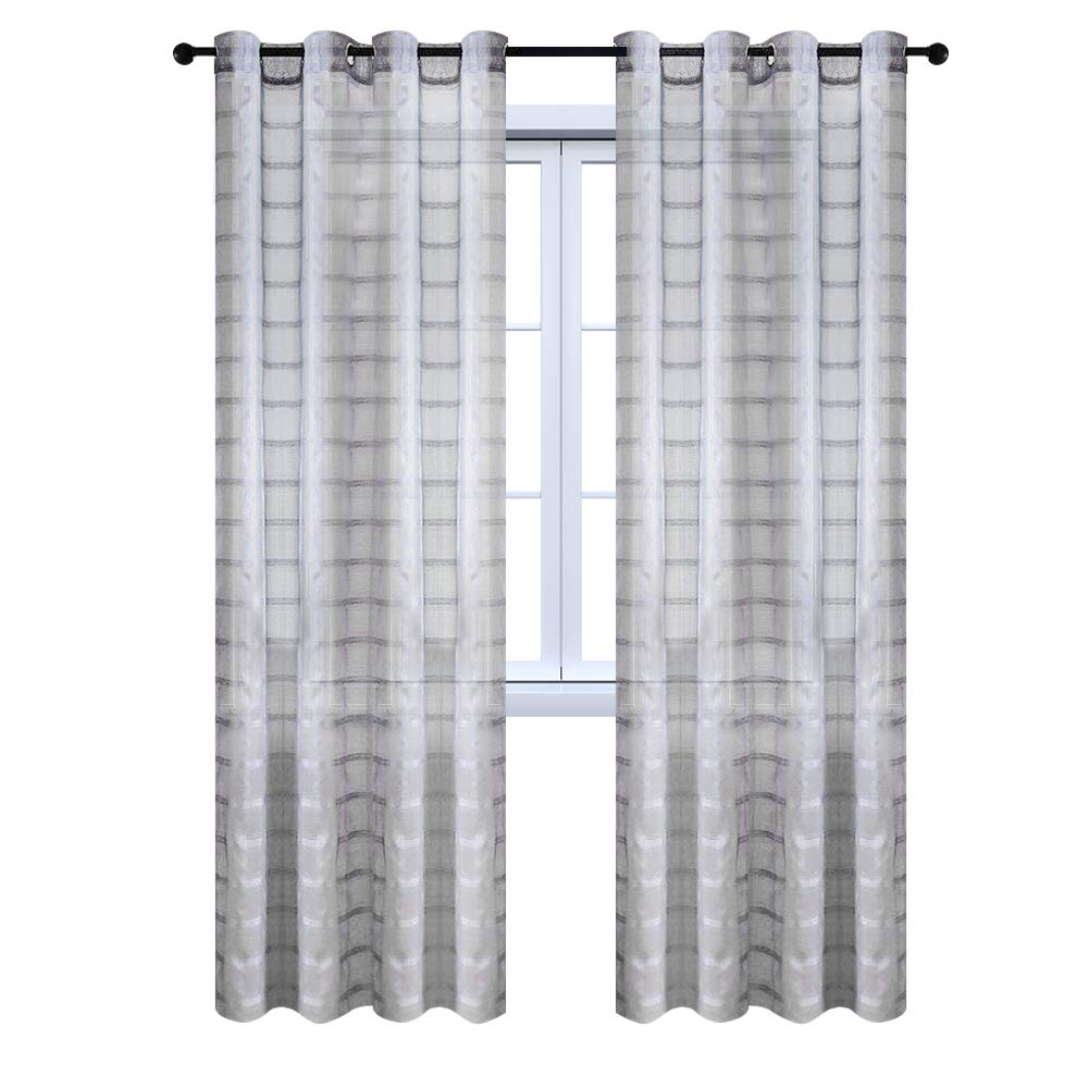 Top Finel Long Plaid Curtains for Bedrooms Semi Sheer Grommet Window Drapes for Living Room, 54W x 63L, Set of 2, Teal 54W x 63L CL0430Teal5263-2