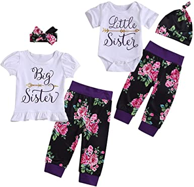 puseky Baby Girls Big Little Sister Matching Outfits Floral Shirt Tops+Pants+Headband or Hat Clothes Set