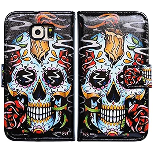 Bfun Packing Bcov Black Fire Skull Leather Wallet Case Cover For Samsung Galaxy S7 Edge Sales