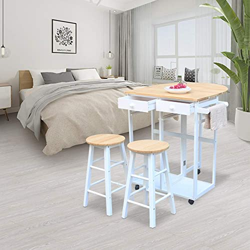 Goujxcy 3PCS Wood Kitchen Cart,Semicircle Solid Wood Folding Dining Cart with 2 Free Stools