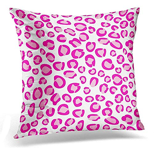 Throw Pillow Cover Designer Pink Leopard Animal Girly Hot Modern Fashionable Decorative Pillow Case Home Decor Square 18x18 Inches Pillowcase