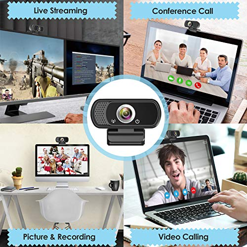 Webcam HD 1080p Web Camera, USB PC Computer Webcam with Microphone, Laptop Desktop Full HD Camera Video Webcam 110 Degree Widescreen, Pro Streaming Webcam for Recording, Calling, Conferencing, Gaming