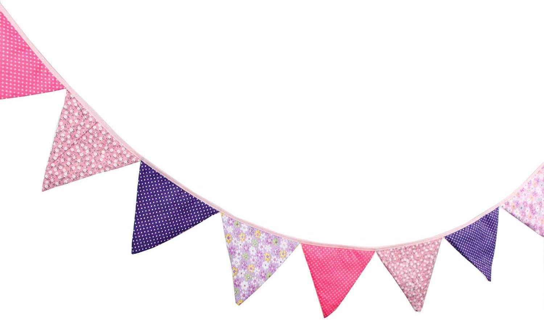 Decorazione per Compleanno Striscione sospesa Ototon Motivo: Fiori Colorati Ghirlanda in Tessuto Festa Battesimo Giardino