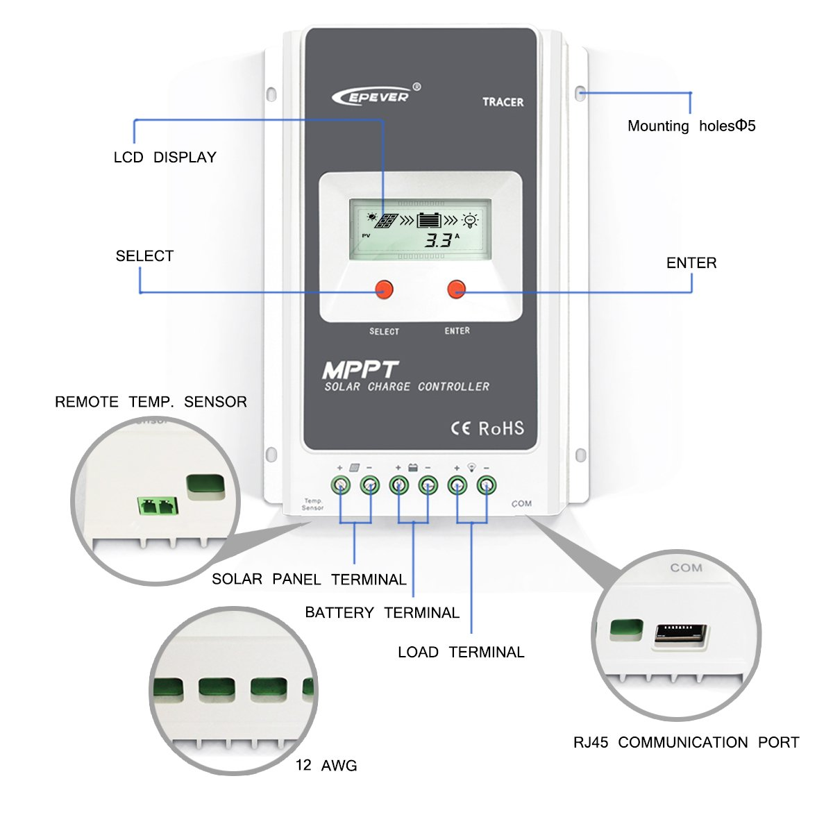 Epever 10a Mppt Charge Controller With Lcd Display Automax Limit Switch Xcl Wiring Diagram 100v Max Input 12v 24v Auto Garden Outdoor