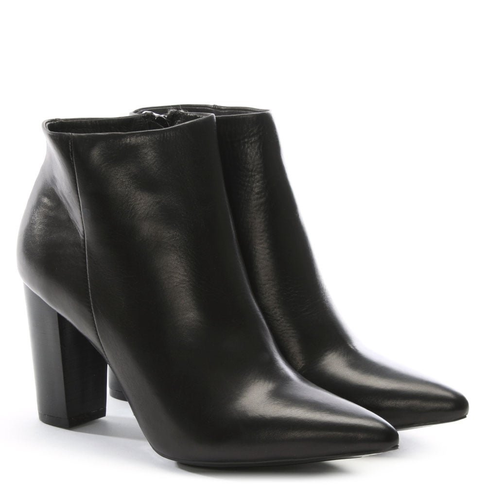 60909412f12ba DF By Daniel Tiana Black Leather Pointed Toe Ankle Boots 39 Black Leather   Amazon.co.uk  Shoes   Bags