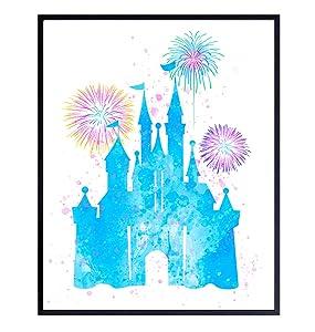 Walt Disney World Cinderella Castle Wall Art Poster Print - Cute Girls Bedroom, Boys Room Decor for Kids and Women - Great Housewarming Gift - Blue Pink 8x10 Unframed Photo