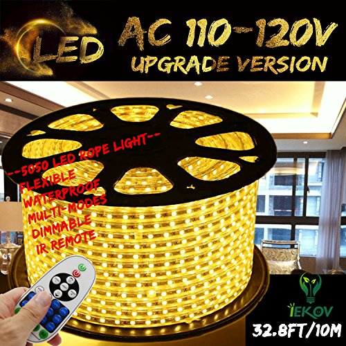 IEKOV Warm White Color LED Strip Light, Trade; AC 110-120V Flexible/Waterproof/Multi-Modes Function/Dimmable SMD5050 LED Rope Light with Remote for Home/Office/Building Decoration ()