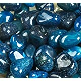 ROYAL SAPPHIRE Decorative Stone Pebbles Decorative River Rock Stones - Natural Blue Color Stones Use in Glassware, Like Vases, Aquariums and Terrariums to Enhance The Appearance 4.5 lbs