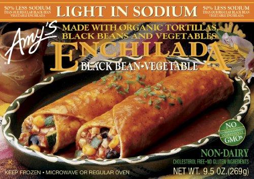 Amy's Black Bean & Vegetable Enchilada, Light in Sodium, Organic, 9.5-Ounce Boxes (Pack of (Black Bean Enchilada)