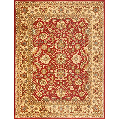 Safavieh English Manor Collection EMS737A Handmade Red and Beige Premium Wool Area Rug (8′ x 10′)