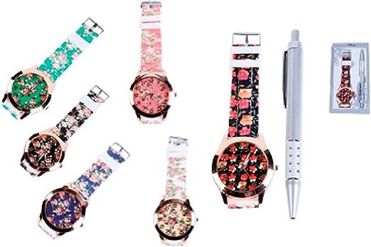 Lote de 12 Relojes Floral en Caja de regalo + Bolígrafo - Detalles Bodas relojes. Relojes Baratos Originales para Regalos de Bodas, Bautizos, Comuniones y cumpleaños: Amazon.es: Hogar