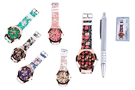 Lote de 12 Relojes Floral en Caja de regalo + Bolígrafo - Detalles Bodas relojes.