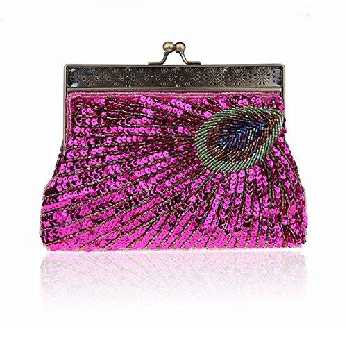Paillettes color Femme Purple Et Perles Paon Avec Soirée Rose Pour Sac Mallty De nwxqIaYnv