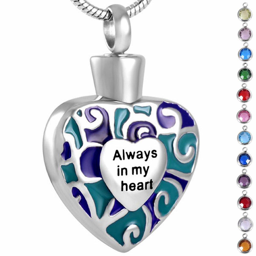 Memorialジュエリー誕生石Personalized記念品灰Urnペンダントネックレス, Always in My Heart B078K3FK6V March-Aquamarine March-Aquamarine