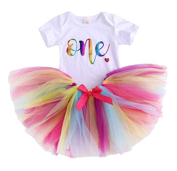 91b559da18 Amazon.com: Baby Girl 1st Birthday 2pcs Outfits with Romper & Tutu Skirt  One Letter White Bodysuit Rainbow Tulle Skirt Clothing Set: Clothing