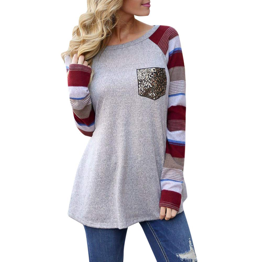 VANSOON Women Teen Girl Tunic Tops Casual Striped Patchwork O-Neck Long Sleeve Sequined Pocket Top Blouse