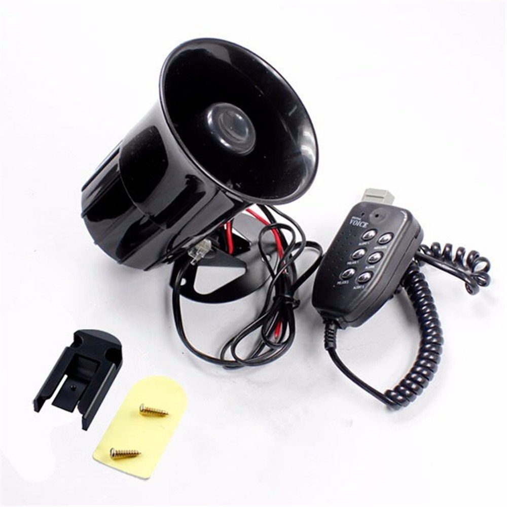 Alarmsignal-Megafon mit Mikrofon, fü r Auto/Motorrad, 6 Alarmtö ne, 12 V luo