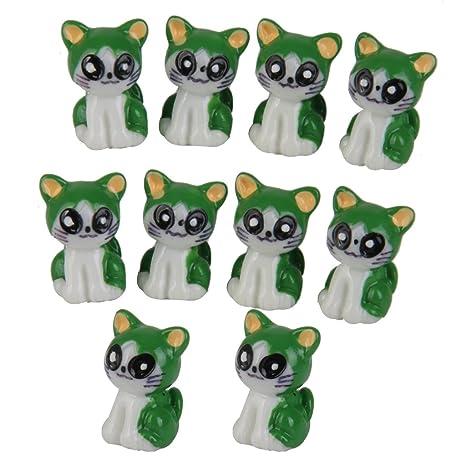 10pcs Dollhouse Casa De Muñecas Miniatura Gatos Decoración Bonsai Micro Paisaje Jardín (verde)