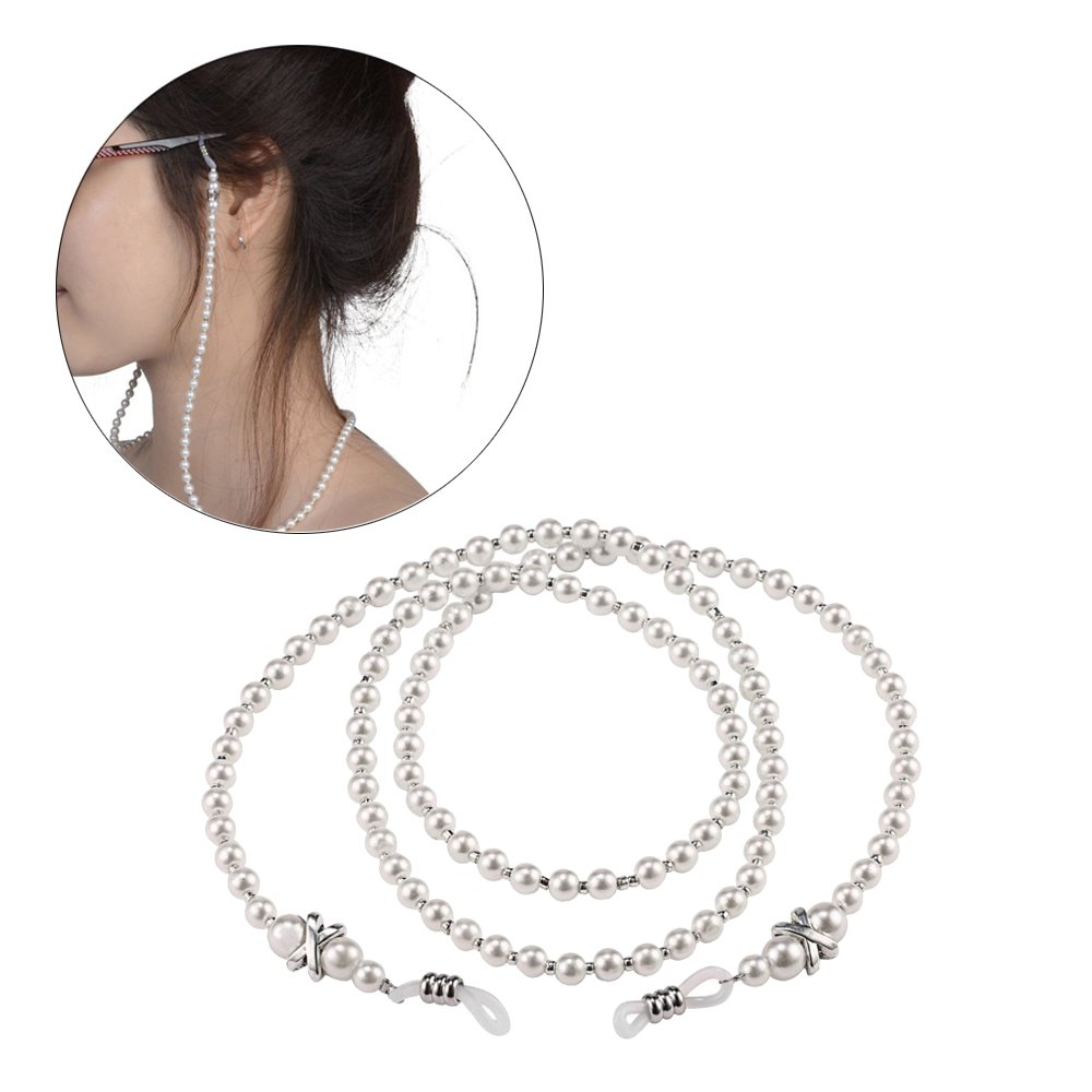 2 pcs Fashion White Eyeglass Chain Beaded Glasses Necklace Strap with Holder The Best Kingdom