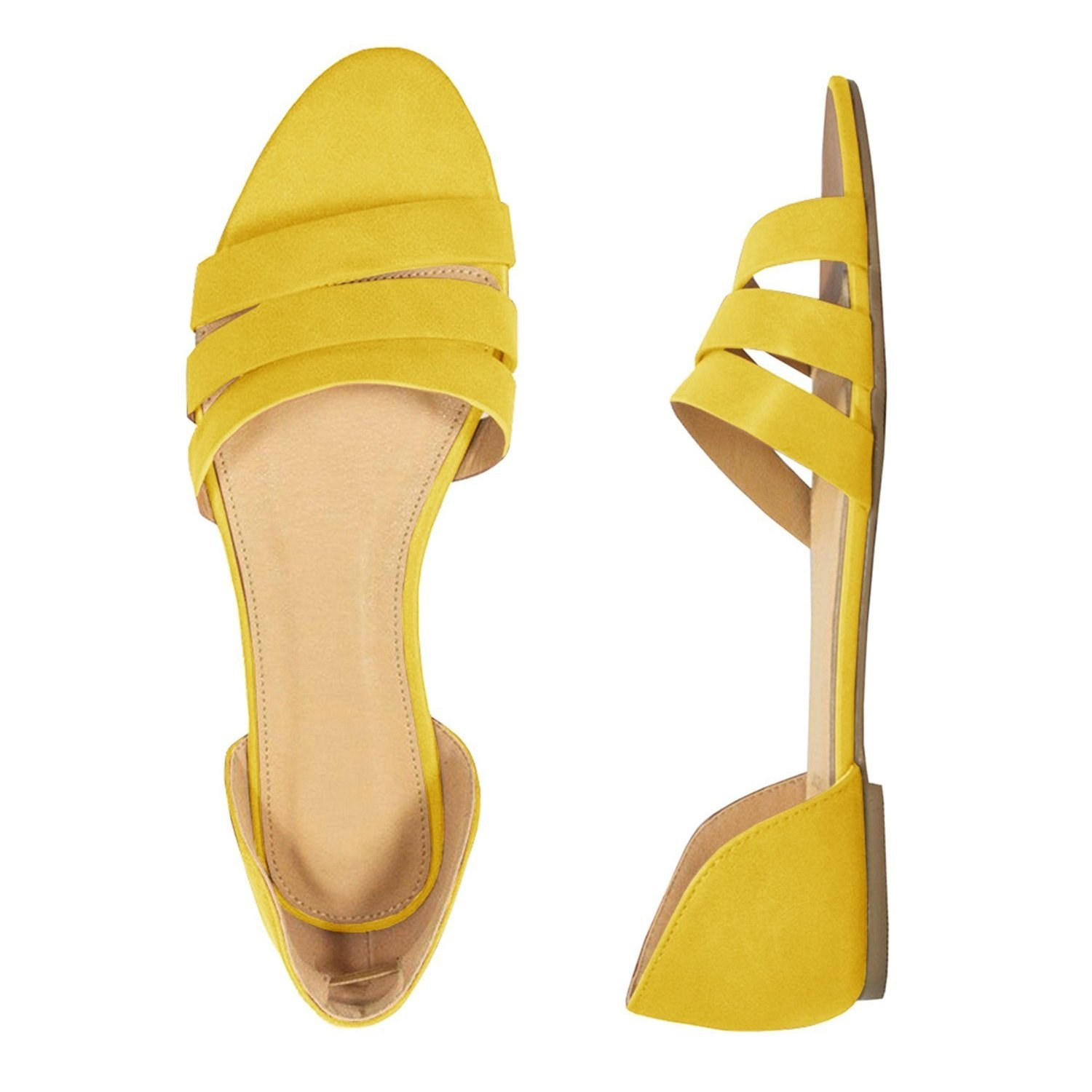 c61c587d60 Amazon.com: Womens Open Toe Woven Pattern Leather Synthetic Sole d'Orsay Hollow  Out Flat Sandals: Clothing