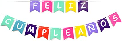 Amazon.com: Feliz Cumpleaños Colorful banner-happy ...